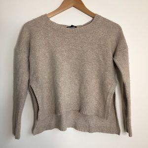 Eileen Fisher Wool Crewneck Crop High Low Sweater